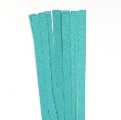 Karen Marie Klip: Quilling Papierstreifen Luxus Türkis, 15x450mm, 120 g/m2. 15 Streifen