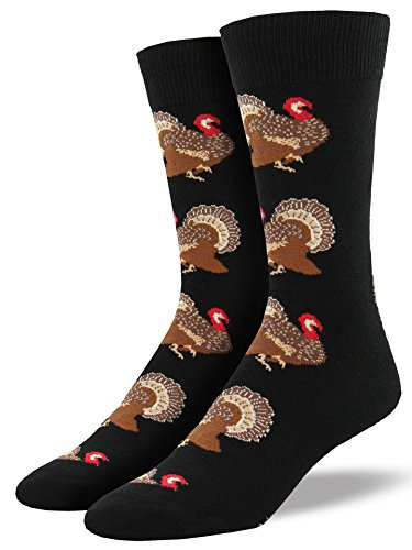 Socksmith Men's Turkey Crew Socks, Black, Large (Thanksgiving Socks)