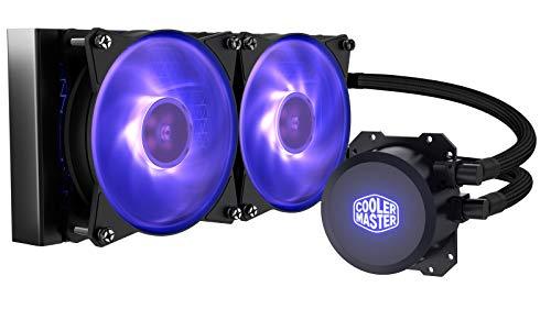 Cooler Master MasterLiquid ML240L RGB Close-Loop CPU Liquid Cooler, 240mm Radiator, Dual Chamber RGB Pump, Dual MF120R RGB Fans w/RGB Lighting Sync for AMD Ryzen/Intel 1151/2066
