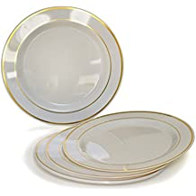""""""" OCCASIONS """" 120 PACK, Heavyweight Disposable Wedding Party Plastic Plates (6'' Dessert / Bread Plate, Ivory / Gold Rim)"""