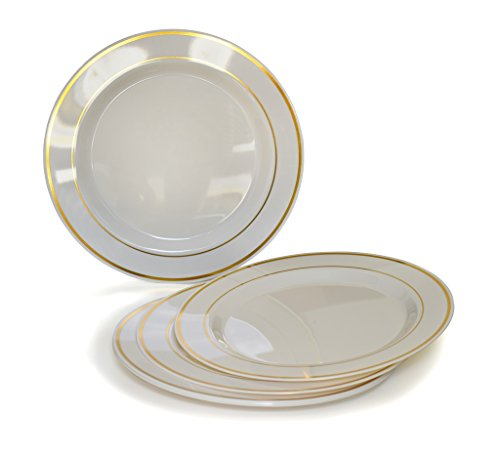 Heavyweight Disposable Wedding Party Plastic Plates (6'' Dessert/Bread Plate, Ivory/Gold Rim) ()