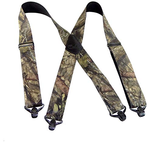 - Holdup Brand Mossy Oak Breakup Trademarked Camo Pattern X-Back Suspenders with Patented Gripper Clasps