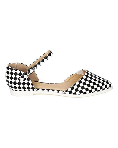 Liliana CD77 Women Printed Leatherette Pointy Toe Mary Jane D'Orsay Flat - Checker (Size: 9.0)