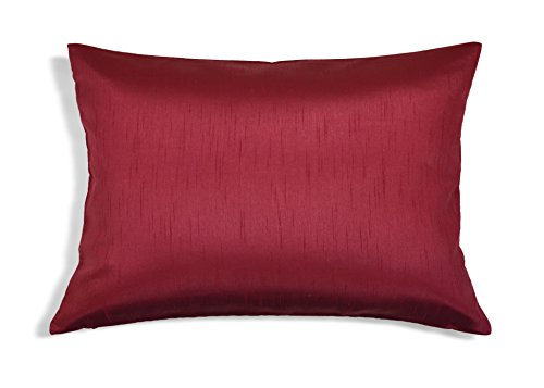 Aiking Home Solid Faux Silk Decorative Pillow Cover, Zipper Closure, 12 by 18 Inches, Burgundy