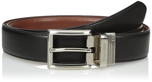 Tommy Hilfiger Men's Dress Reversible Belt with Polished Nickel Buckle, Size 40, Black/Tan - Size 40 Belt For Men