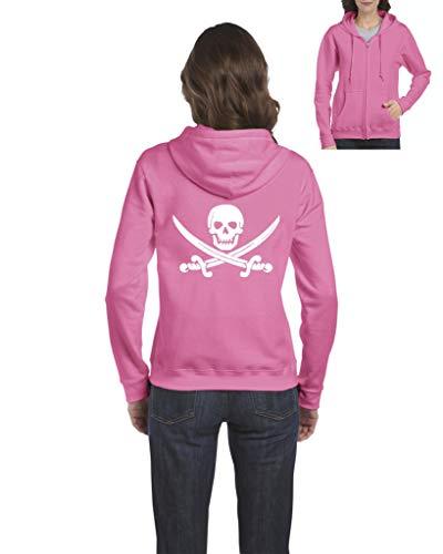 NIB Pirate Skull & Crossbones Pirate Flag Women's Full-Zip Hooded Sweatshirt (MAP) Azalea Pink