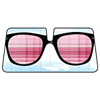 Pink Sun Glasses in Baby Blue Sky Background Car Truck SUV Front Windshield Sunshade - Accordion Style