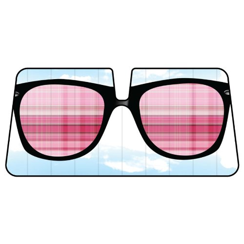 Pink Sun Glasses in Baby Blue Sky Background Car Truck SUV Front Windshield Sunshade - Accordion - Sunglasses Background