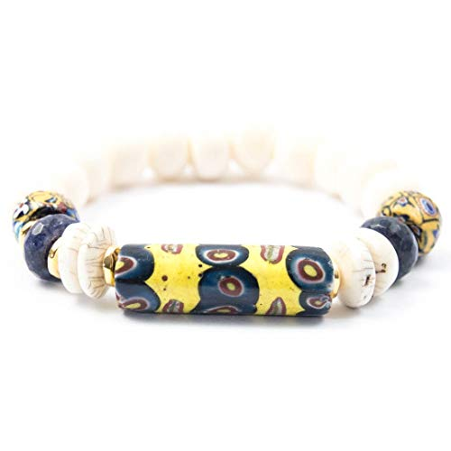 Antique Venetian Millefiori Bead Bracelet with Conch Shell Beads and Sodalite - 7 Inches Long Handmade African Trade Bead Bracelet by Miller Mae Designs