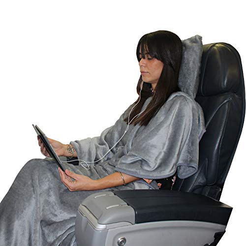 Kululu Some ZZZ's 4-in-1 Poncho Style Travel Blanket and & Shredded Memory Foam Pillow Set. The Perfect Plush Blanket & Comfortable Pillow Set for a Cozy First-Class Travel on Airplanes, Trains, Cars.