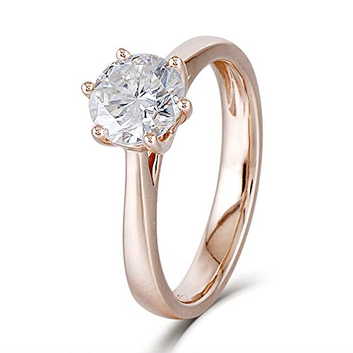 d 1ct 6.5mm H Color Clear Heart Arrows Cut Moissanite Solitare Engagement Ring for Women (8) ()
