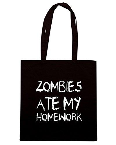 T-Shirtshock - Bolsa para la compra TZOM0069 zombies ate my homework Negro