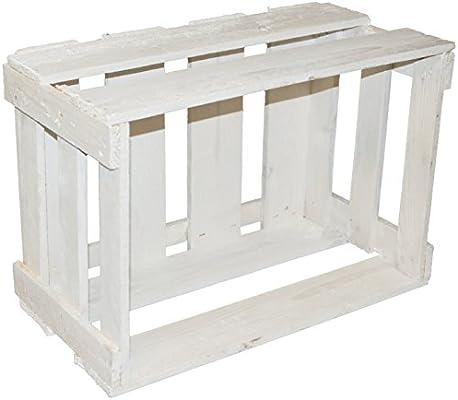 Caja madera (49 x 30 x 28 cm), color blanco: Amazon.es: Hogar