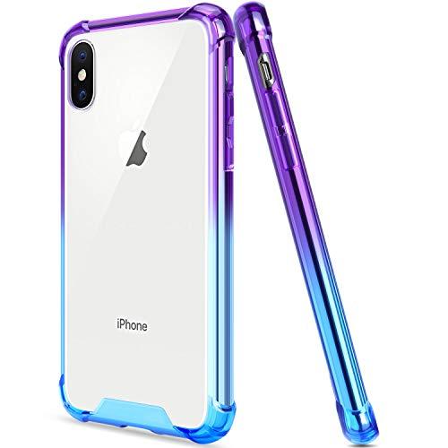 - Salawat for iPhone Xs Case iPhone X Case, Clear iPhone Xs Case TPU Bumper Anti Scratch Thin Phone Case Cute Cover Reinforced Corners Shock Absorption Protective Case for iPhone X/Xs (Blue Purple)