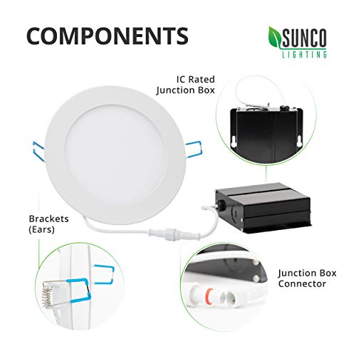 Sunco Lighting 12 Pack 4 Inch Slim LED Downlight with Junction Box,10W=60W, 650 LM, Dimmable, 5000K Daylight, Recessed Jbox Fixture, Simple Retrofit Installation - ETL & Energy Star by Sunco Lighting (Image #7)