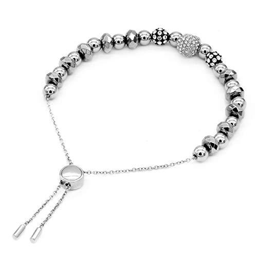 True N' Raven Skull Bracelet Studded Skull Bead Pull-Chain Bracelet