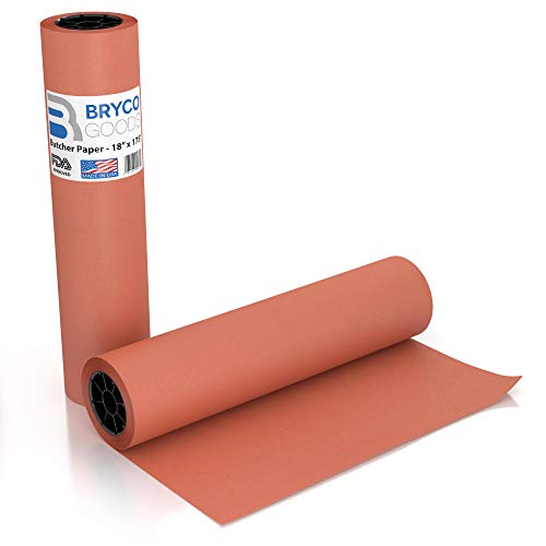 Pink Kraft Butcher Paper Roll - 18 Inch x 175 Feet (2100 Inch) - Food Grade FDA Approved – Peach Wrapping Paper for Smoking Meat of All Varieties – Made in USA – Unbleached, Unwaxed and Uncoated ()