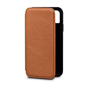 Bence Wallet Book Sena Cases Leather Case (Tan, for iPhone X)