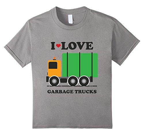 Kids I Heart Love Garbage Trucks Shirt | Little Boys Kids T-Shirt 4 Slate