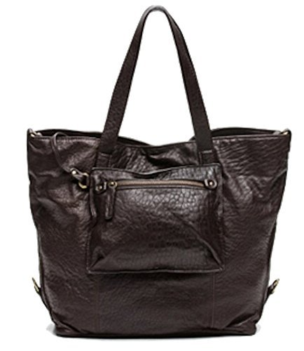 ABACO Kabaco French Handcrafted Tote Bag Genuine Lambskin Leather Dark Brown 17