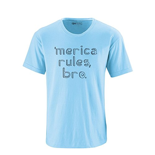 [Apericots Merica Rules Bro Funny Short Sleeve Adult Tee Shirt] (Trailer Trash Outfits)