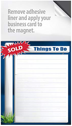 Magnet Notepads - with a Peel and Stick Area for Your Business Card! Box of 50 Notepads (Real Estate Sign)