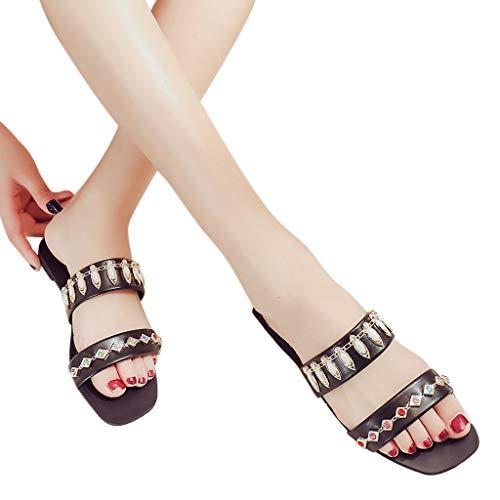 Femme Solide Sandales Mode Pour Avec Plat Des Décontractées Noir Femmes Sandales bout Rond Mocassins baskets En Chaussures Cristal rwOrAYxq