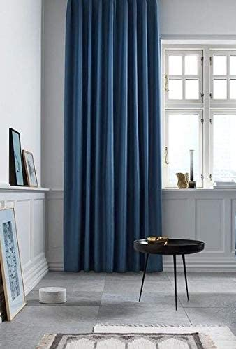 IHF Faux Silk Dupioni Solid Textured Lined Grommet Eyelet Panels Curtains Drapes Indigo Blue
