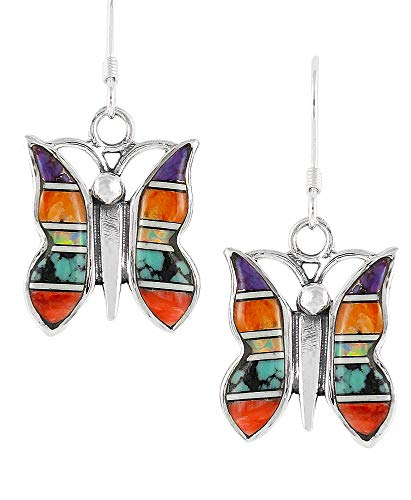 Turquoise Butterfly Earrings 925 Sterling Silver & Genuine ()