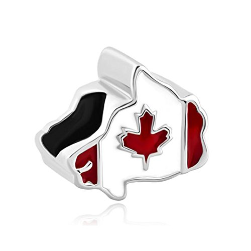 Maple Leaf Patriotic Proud To Be Canada Flag Of Canada Map Charms Jewelry Beads Fit Pandora Bracelets