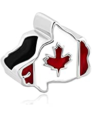 Charmed Craft Maple Leaf Patriotic Proud to Be Canada Flag of Canada Map Charms Jewelry Beads for Bracelets