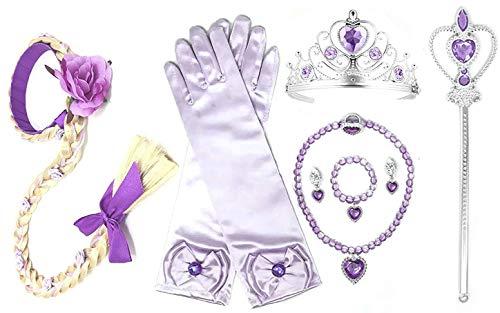 Princess Rapunzel Dress up Party 4-Piece Accessories Gift Set (Rapunzel) Purple]()