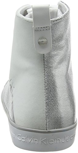 Hautes Calvin Jeans Klein Femme Svw 000 Flocking Canvas Dotty Metal Argent Baskets qS0wrZq