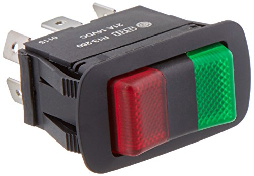 NTE Electronics 54-241W Waterproof Miniature Illuminated Rocker Switch, SPDT Circuit, ON-OFF-ON Action, PC Red Green Led Actuator, 0.250