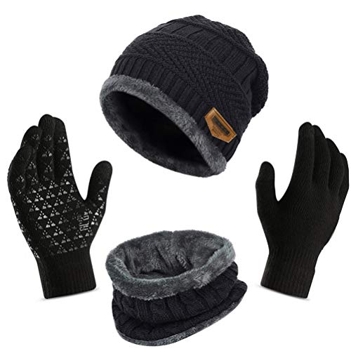 3Pcs Winter Beanie Hat + Scarf + Touch Screen Gloves, Warm Knit Hat Thick Fleece Lined Winter Hat & Scarf, Stretchy Knit Skull Caps Elastic Neck Warmer Snugly for Women Ladies Girls