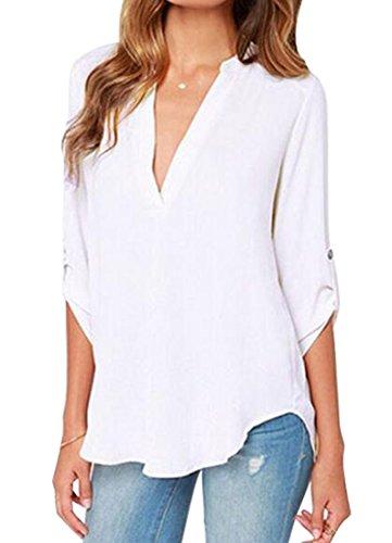 Women Blouse Casual Long Sleeve V-neck Leopard Chiffon Shirt - 8