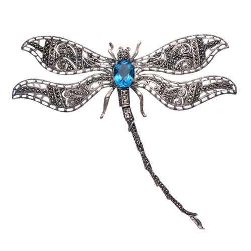 Wild Things Large Sterling Silver Dragonfly Brooch with Filigree Marcasite Wings and a Faceted Blue Crystal