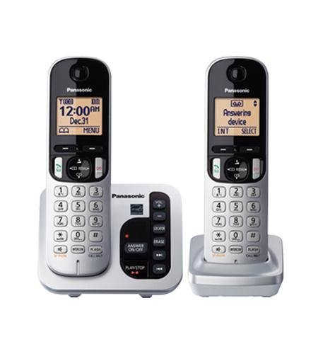 Panasonic KX-TGC222S DECT 6.0 2-Handset Landline Telephone with Answering Machine (Renewed) Dect 6.0 Four Handset