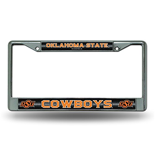Rico NCAA Oklahoma State Cowboys Bling Chrome License Plate Frame with Glitter Accent (State Basketball Cowboys Oklahoma)