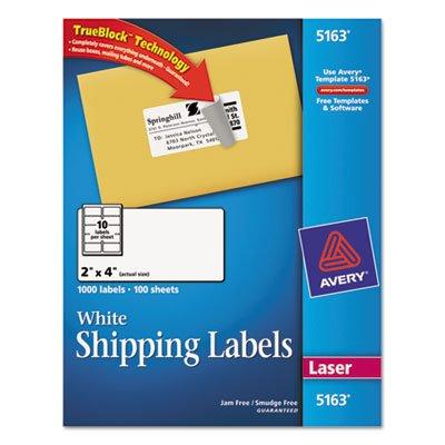 Avery 5163 TrueBlock Shipping Labels, Laser Print, 2