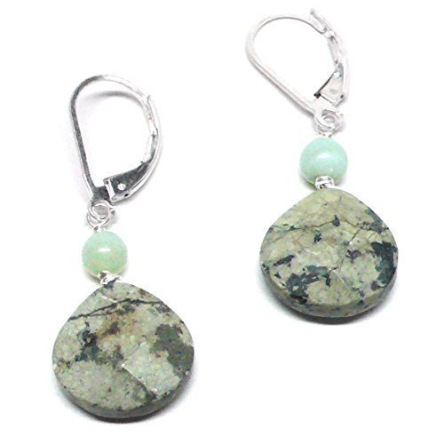 Light Aqua Jasper Briolette Lever Back Earrings Peruvian Green Stone Sterling Silver