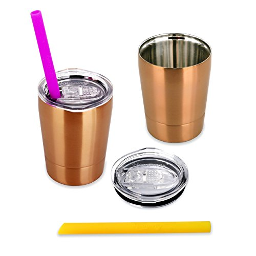 Housavvy Snack Cups for Toddlers with Lids and Straws, Double-walled Stainless Steel, Set of 2 - Golden