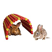 """B&P Color Fiddle Sticks Hideout,21.65x11.02x0.98"""" Large folding Wood fence ladder Bridge for rabbits, ferrets, guinea pigs, Chinchilla and other small animals cage accessories (Red+Yellow, XL)"""