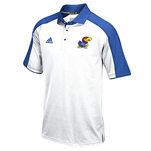 adidas Kansas Jayhawks NCAA Men's Sideline Climalite Performance Football Coaches White Polo Shirt (3XLT)