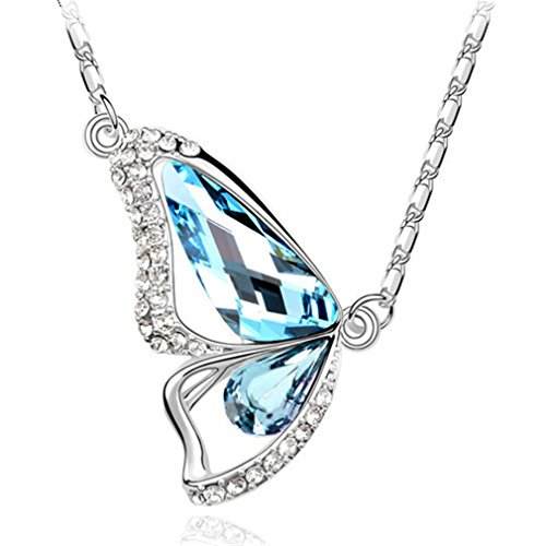 [Hen-night Austrian crystals dancing butterfly shape pendant love to feed blue] (Dancing With The Stars Costumes Designs)