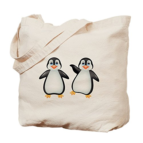 CafePress Funny Penguin Cartoon Natural Canvas Tote Bag, Cloth Shopping Bag