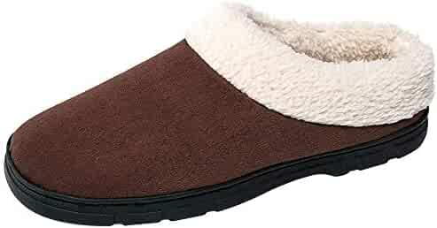 15b1933632e38 SITAILE Slippers Men, Memory Foam Mens Fuzzy House Slipper Clogs Winter  Home Shoes Indoor Outdoor