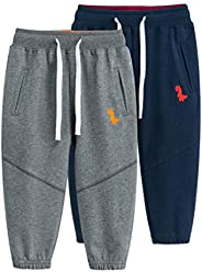 2 Pack Toddler Boys Jogger Pants Sweatpants Cotton Active Athletic Sports Pants with Pockets