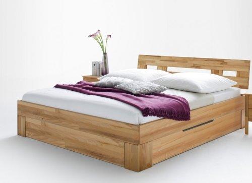 Bett Doppelbett Jugendbett Holzbett Gästebett Schubkasten Kernbuche massiv geölt, Größe:200 x 200 cm