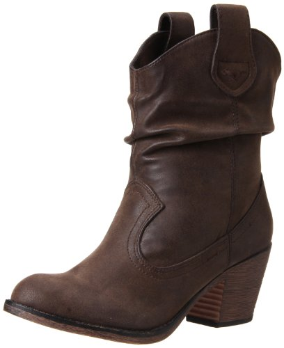 Rocket Dog Women's Sheriff Vintage Worn PU Western Boot, Brown, 8.5 M US -